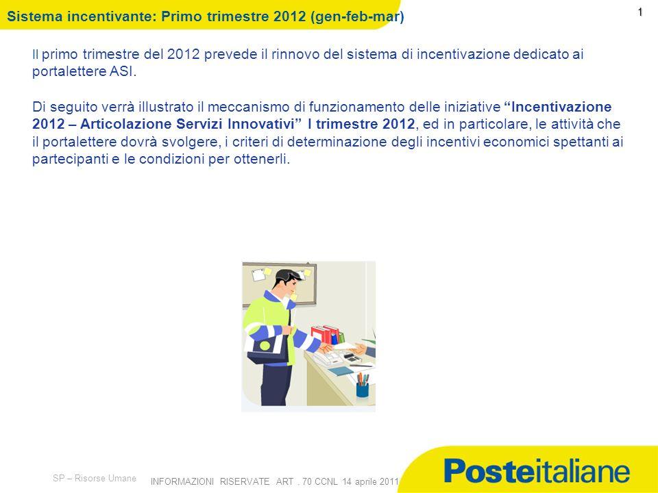 09/02/2014 SP – Risorse Umane INFORMAZIONI RISERVATE ART. 70 CCNL 14 aprile 2011 Incentivazione Commerciale 2012 -Primo trimestre - Gennaio 2012 A rti