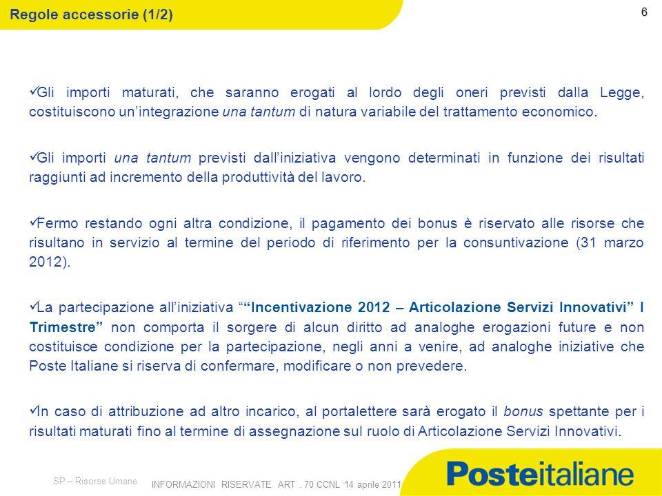 09/02/2014 SP – Risorse Umane INFORMAZIONI RISERVATE ART. 70 CCNL 14 aprile 2011 5 Il bonus spettante a ciascun portalettere sarà determinato dallasso