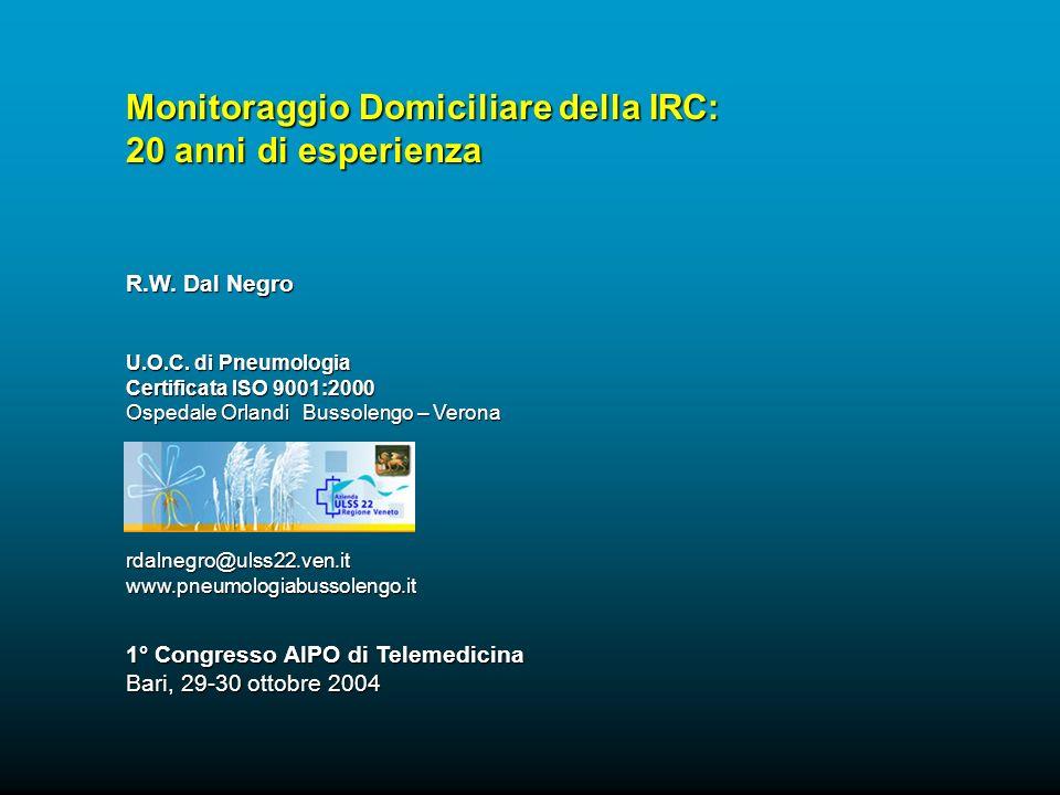 Monitoraggio Domiciliare della IRC: 20 anni di esperienza R.W. Dal Negro U.O.C. di Pneumologia Certificata ISO 9001:2000 Ospedale Orlandi Bussolengo –