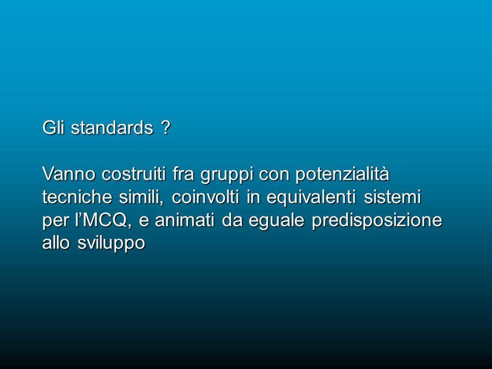Gli standards ? Vanno costruiti fra gruppi con potenzialità tecniche simili, coinvolti in equivalenti sistemi per lMCQ, e animati da eguale predisposi