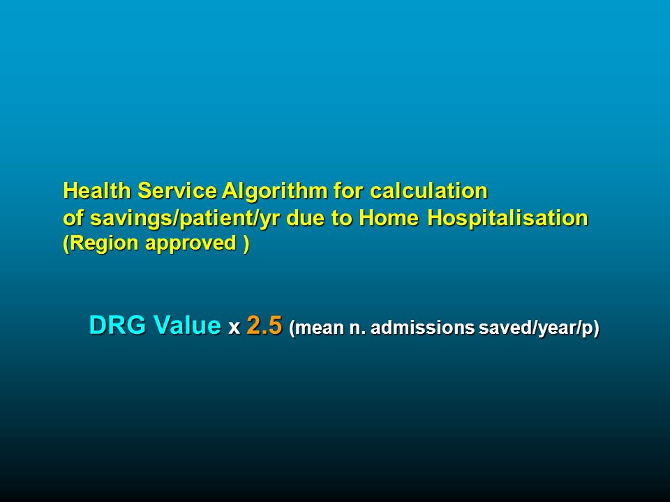 Health Service Algorithm for calculation of savings/patient/yr due to Home Hospitalisation (Region approved ) DRG Value x 2.5 (mean n.