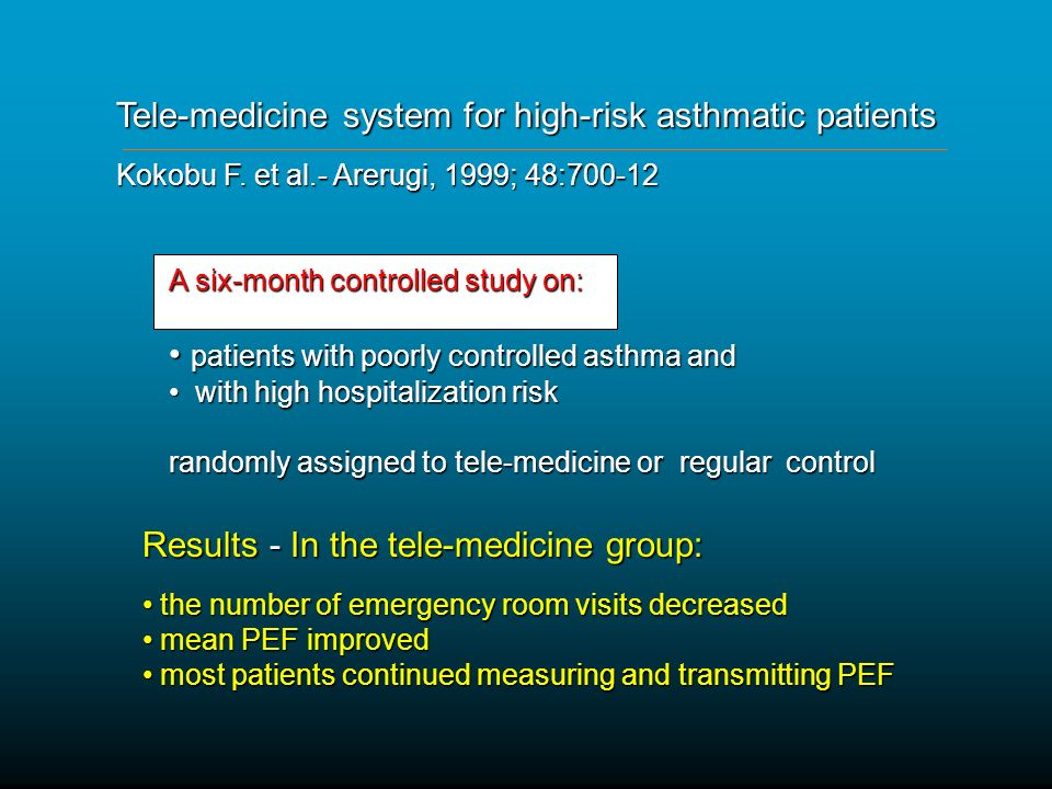 Tele-medicine system for high-risk asthmatic patients Kokobu F.