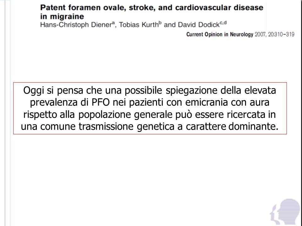 Oggi si pensa che una possibile spiegazione della elevata prevalenza di PFO nei pazienti con emicrania con aura rispetto alla popolazione generale può