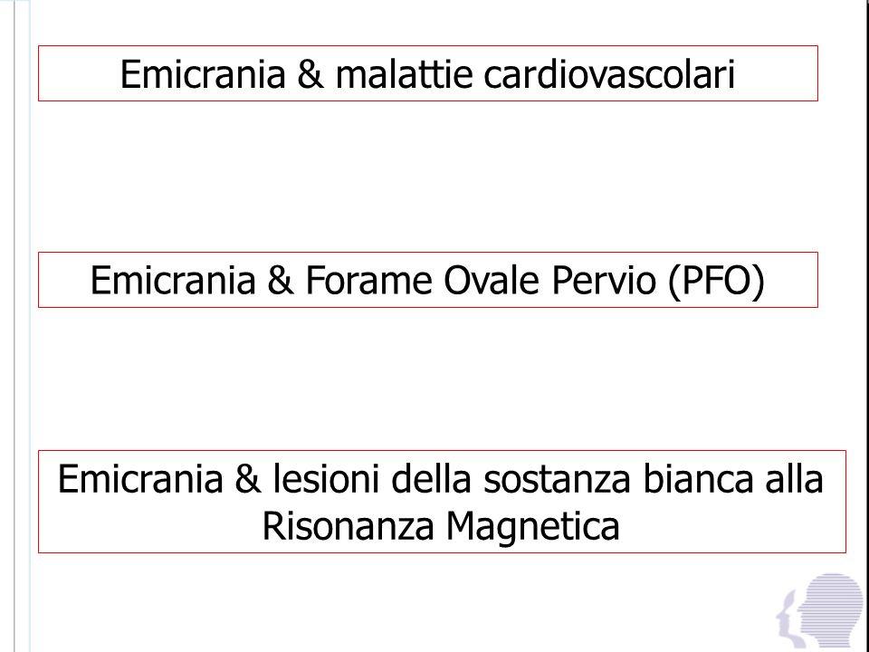Emicrania & malattie cardiovascolari Emicrania & Forame Ovale Pervio (PFO) Emicrania & lesioni della sostanza bianca alla Risonanza Magnetica