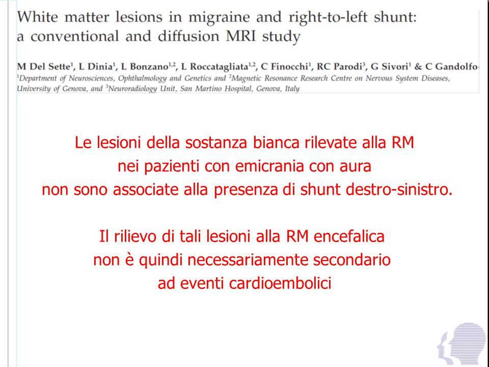 Le lesioni della sostanza bianca rilevate alla RM nei pazienti con emicrania con aura non sono associate alla presenza di shunt destro-sinistro. Il ri