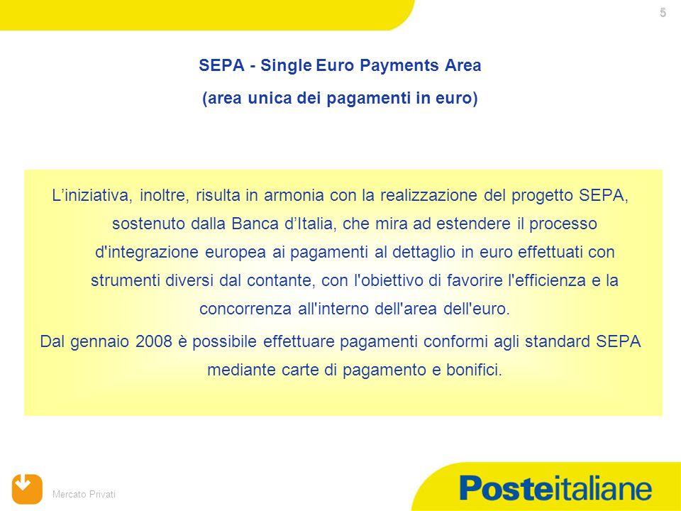 09/02/2014 Mercato Privati 5 SEPA - Single Euro Payments Area (area unica dei pagamenti in euro) Liniziativa, inoltre, risulta in armonia con la reali