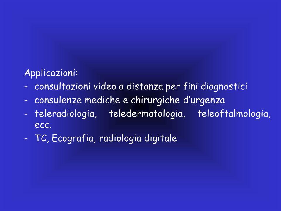 Applicazioni: -consultazioni video a distanza per fini diagnostici -consulenze mediche e chirurgiche durgenza -teleradiologia, teledermatologia, teleo