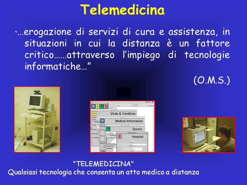 …erogazione di servizi di cura e assistenza, in situazioni in cui la distanza è un fattore critico……attraverso limpiego di tecnologie informatiche… (O