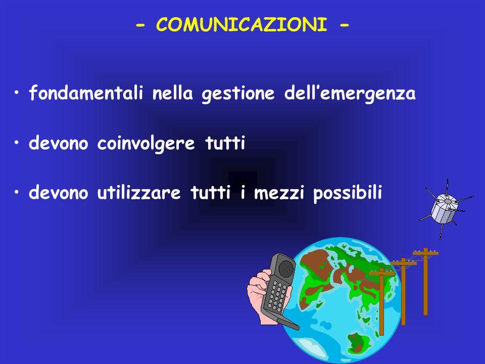 - COMUNICAZIONI - fondamentali nella gestione dellemergenza devono coinvolgere tutti devono utilizzare tutti i mezzi possibili
