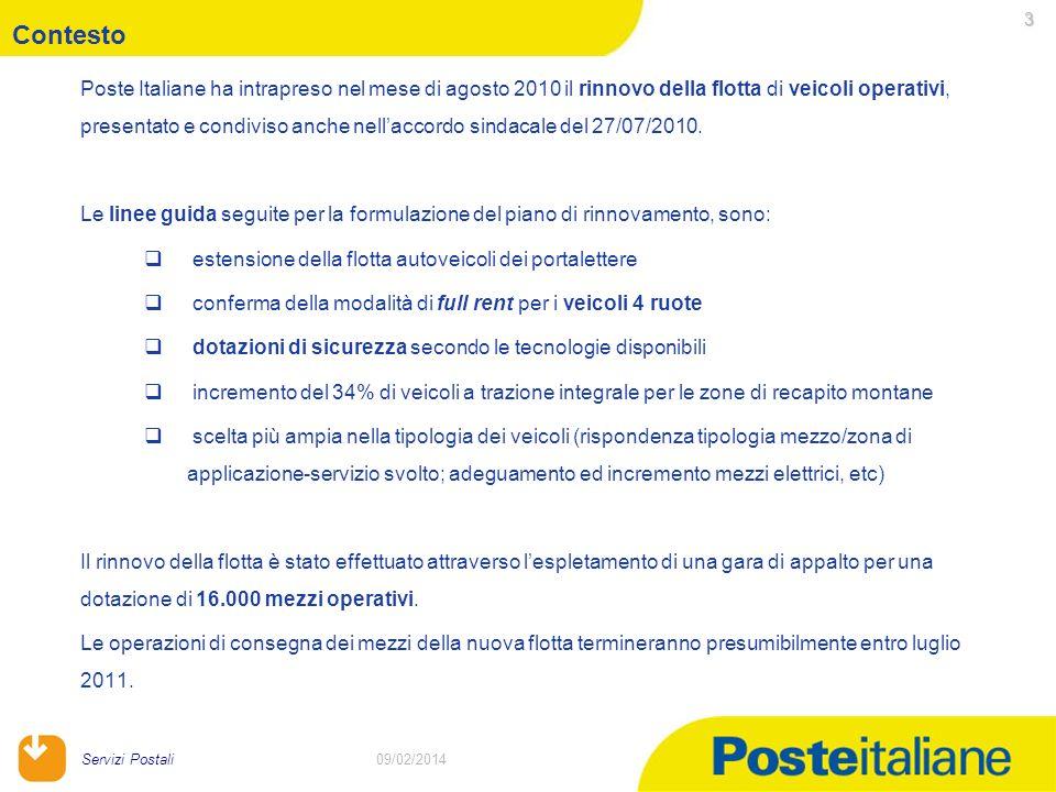 09/02/2014 Servizi Postali 3 09/02/2014 Poste Italiane ha intrapreso nel mese di agosto 2010 il rinnovo della flotta di veicoli operativi, presentato e condiviso anche nellaccordo sindacale del 27/07/2010.