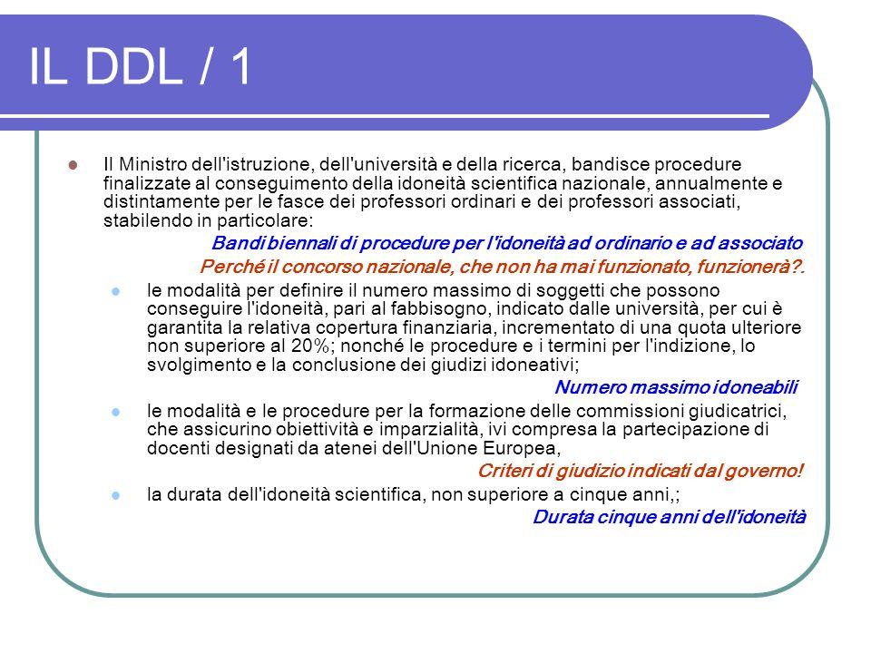 IL DDL / 1 Il Ministro dell'istruzione, dell'università e della ricerca, bandisce procedure finalizzate al conseguimento della idoneità scientifica na