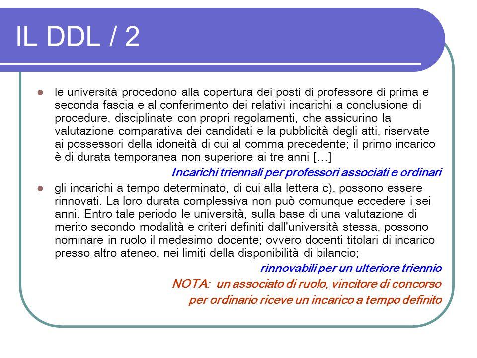 IL DDL / 2 le università procedono alla copertura dei posti di professore di prima e seconda fascia e al conferimento dei relativi incarichi a conclus