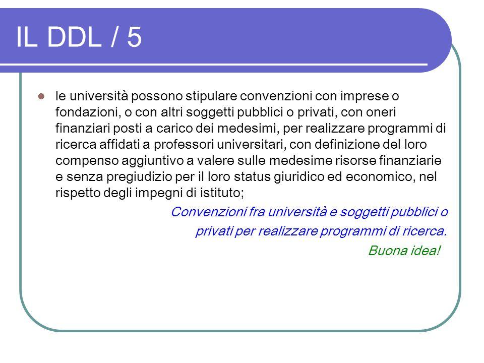 IL DDL / 5 le università possono stipulare convenzioni con imprese o fondazioni, o con altri soggetti pubblici o privati, con oneri finanziari posti a