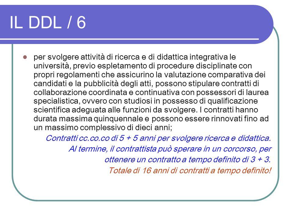 IL DDL / 6 per svolgere attività di ricerca e di didattica integrativa le università, previo espletamento di procedure disciplinate con propri regolam