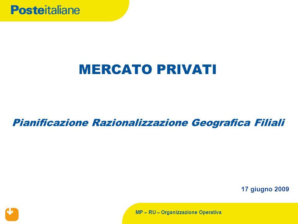 MP – RU – Organizzazione Operativa Pianificazione Razionalizzazione Geografica Filiali MERCATO PRIVATI 17 giugno 2009
