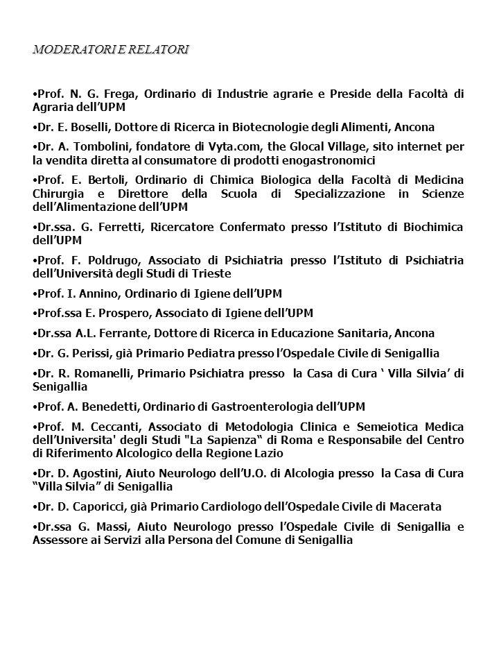 MODERATORI E RELATORI Prof.N. G.