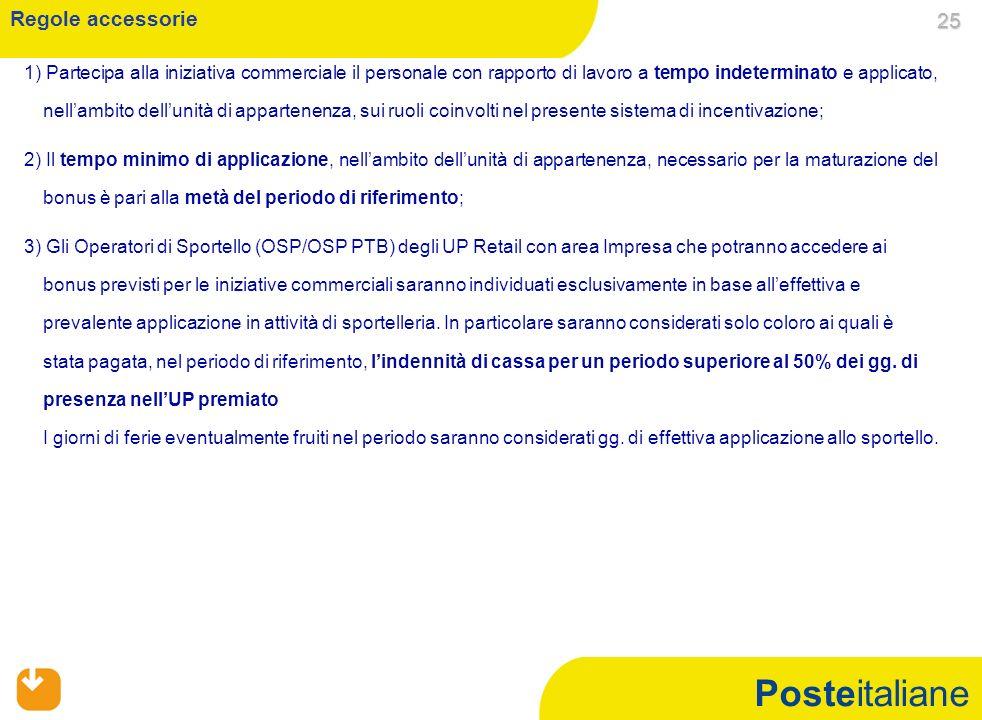Posteitaliane 1) Partecipa alla iniziativa commerciale il personale con rapporto di lavoro a tempo indeterminato e applicato, nellambito dellunità di appartenenza, sui ruoli coinvolti nel presente sistema di incentivazione; 2) Il tempo minimo di applicazione, nellambito dellunità di appartenenza, necessario per la maturazione del bonus è pari alla metà del periodo di riferimento; 3) Gli Operatori di Sportello (OSP/OSP PTB) degli UP Retail con area Impresa che potranno accedere ai bonus previsti per le iniziative commerciali saranno individuati esclusivamente in base alleffettiva e prevalente applicazione in attività di sportelleria.