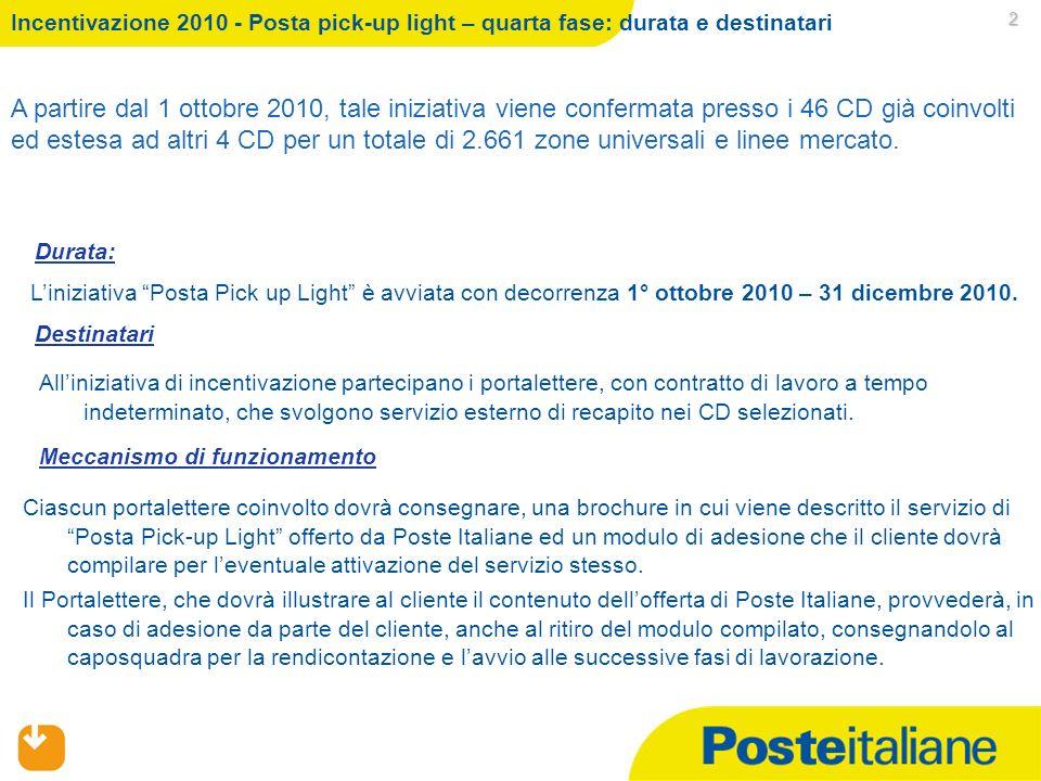 09/02/2014 2 Incentivazione 2010 - Posta pick-up light – quarta fase: durata e destinatari Liniziativa Posta Pick up Light è avviata con decorrenza 1° ottobre 2010 – 31 dicembre 2010.