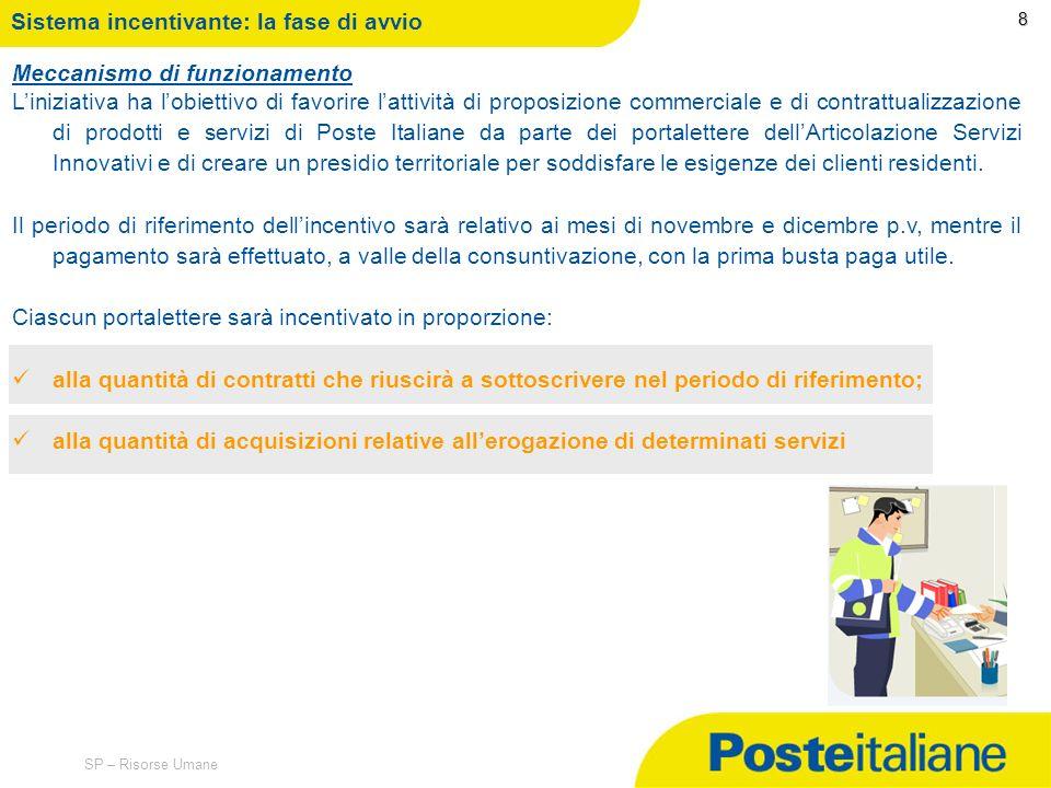 09/02/2014 SP – Risorse Umane Sistema incentivante: avvio 7 Durata: dal 2 novembre al 31 dicembre 2010 Destinatari I portalettere titolari di zona del