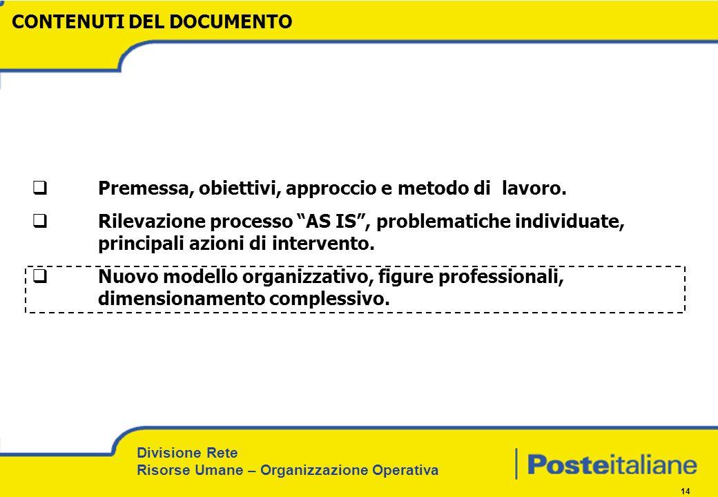 Divisione Rete Risorse Umane – Organizzazione Operativa 14 Premessa, obiettivi, approccio e metodo di lavoro. Rilevazione processo AS IS, problematich
