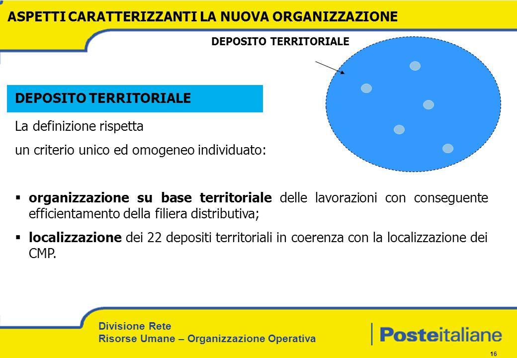 Divisione Rete Risorse Umane – Organizzazione Operativa 16 DEPOSITO TERRITORIALE La definizione rispetta un criterio unico ed omogeneo individuato: or