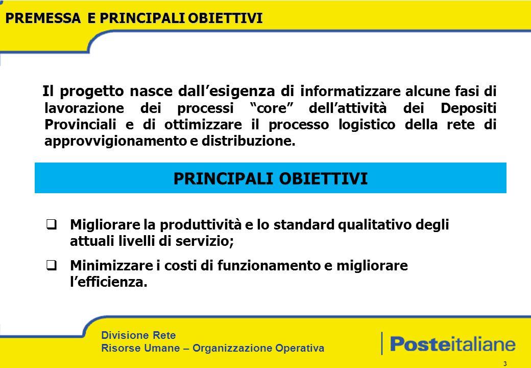Divisione Rete Risorse Umane – Organizzazione Operativa 14 Premessa, obiettivi, approccio e metodo di lavoro.