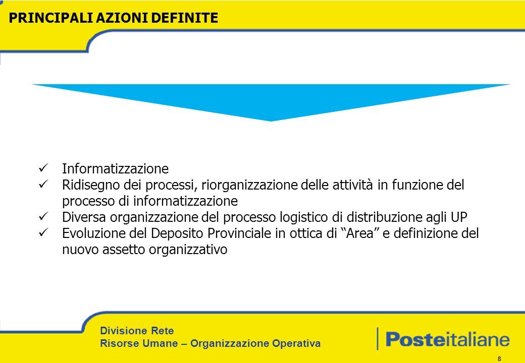 Divisione Rete Risorse Umane – Organizzazione Operativa 8 PRINCIPALI AZIONI DEFINITE Informatizzazione Ridisegno dei processi, riorganizzazione delle