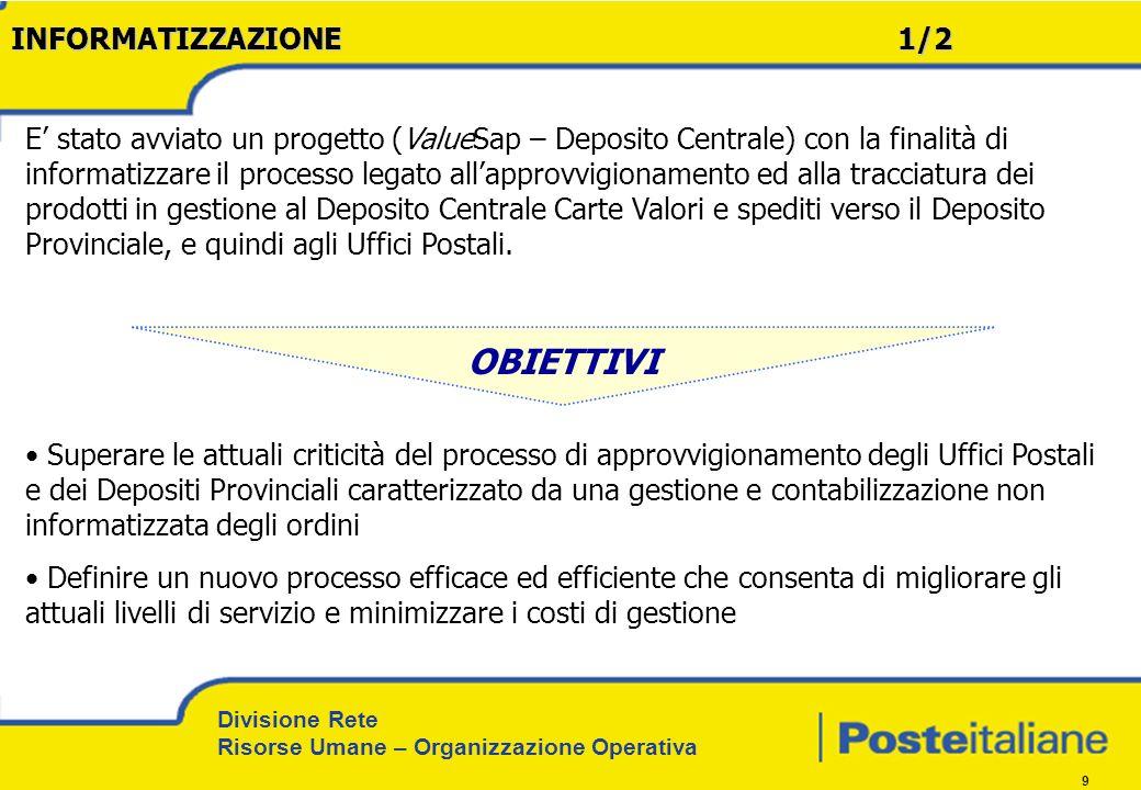 Divisione Rete Risorse Umane – Organizzazione Operativa 10 INFORMATIZZAZIONE 2/2 Linformatizzazione è stata realizzata, in via sperimentale, sul DP di Roma (che gestisce tutte le Filiali del Lazio), mediante limplementazione dei moduli MM/LES dellIndustry Solution Retail di SAP (release 4.6C), ed ha interessato alcune attività relative al processo di tracciatura dei prodotti.