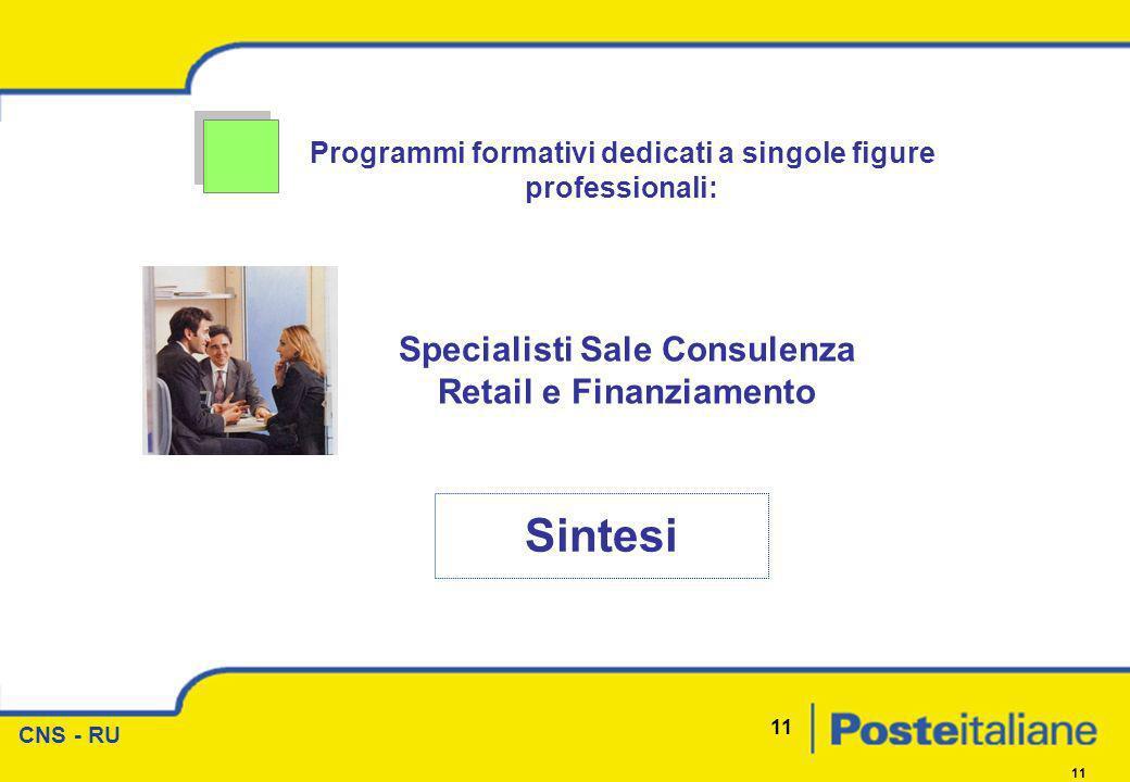 CNS - RU 11 Programmi formativi dedicati a singole figure professionali: Sintesi Specialisti Sale Consulenza Retail e Finanziamento