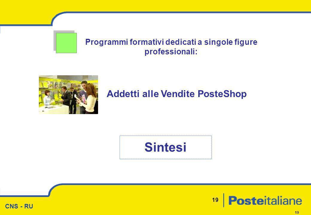 CNS - RU 19 Programmi formativi dedicati a singole figure professionali: Sintesi Addetti alle Vendite PosteShop