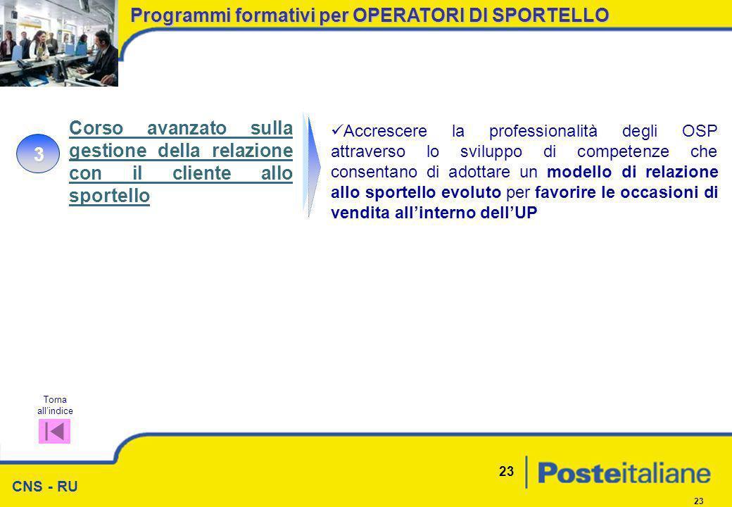 CNS - RU 23 Programmi formativi per OPERATORI DI SPORTELLO 3 Accrescere la professionalità degli OSP attraverso lo sviluppo di competenze che consenta