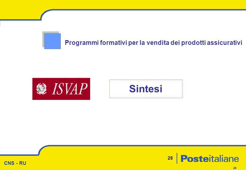 CNS - RU 28 Programmi formativi per la vendita dei prodotti assicurativi Sintesi