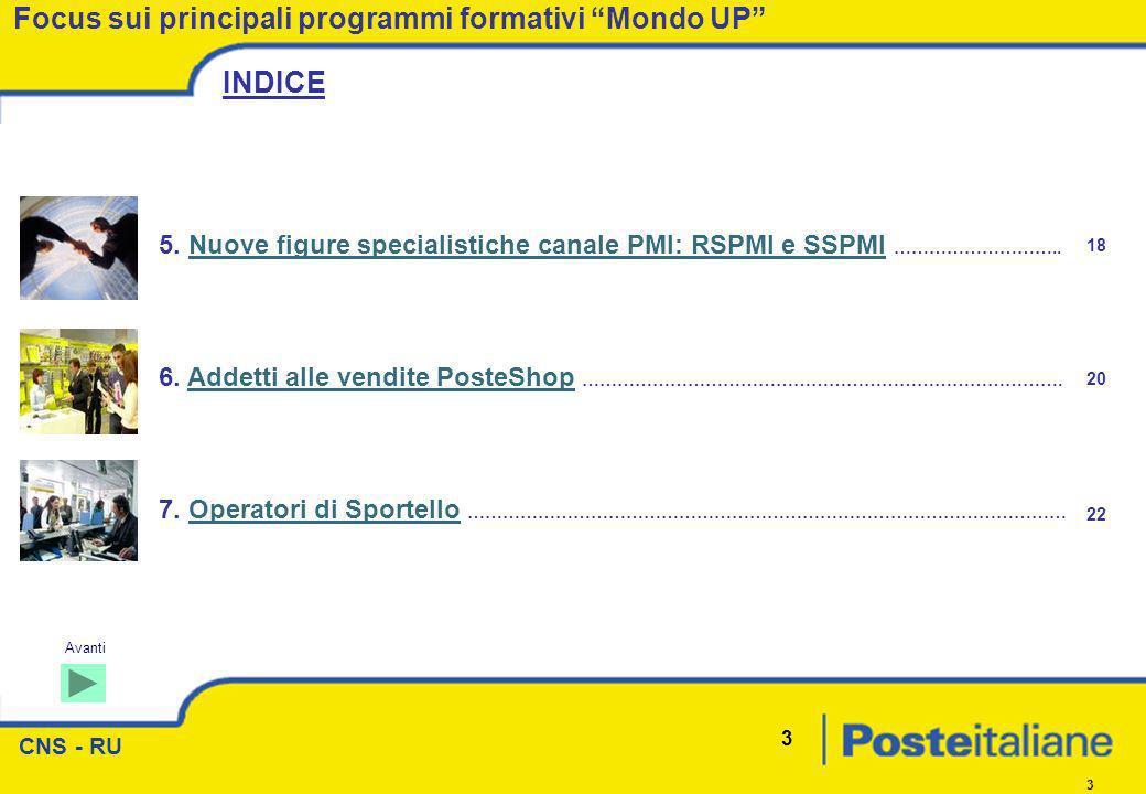 CNS - RU 3 3 6. Addetti alle vendite PosteShop ……………………………………………………………………….Addetti alle vendite PosteShop Focus sui principali programmi formativi Mon