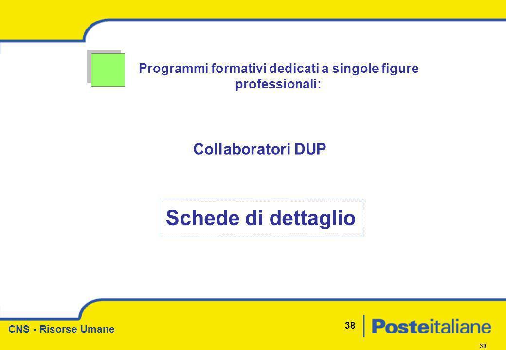CNS - Risorse Umane 38 Programmi formativi dedicati a singole figure professionali: Collaboratori DUP Schede di dettaglio