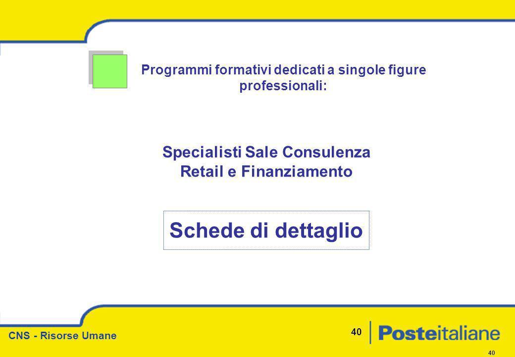 CNS - Risorse Umane 40 Programmi formativi dedicati a singole figure professionali: Specialisti Sale Consulenza Retail e Finanziamento Schede di detta
