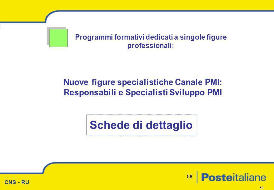 CNS - RU 58 Programmi formativi dedicati a singole figure professionali: Nuove figure specialistiche Canale PMI: Responsabili e Specialisti Sviluppo P