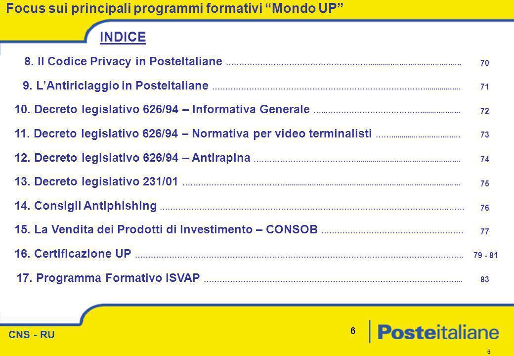 CNS - RU 6 6 Focus sui principali programmi formativi Mondo UP INDICE 8. Il Codice Privacy in PosteItaliane ………………………………………………........................