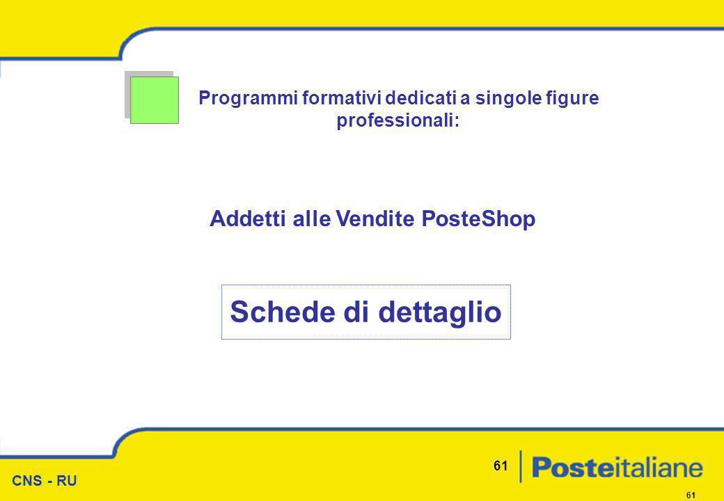 CNS - RU 61 Programmi formativi dedicati a singole figure professionali: Addetti alle Vendite PosteShop Schede di dettaglio
