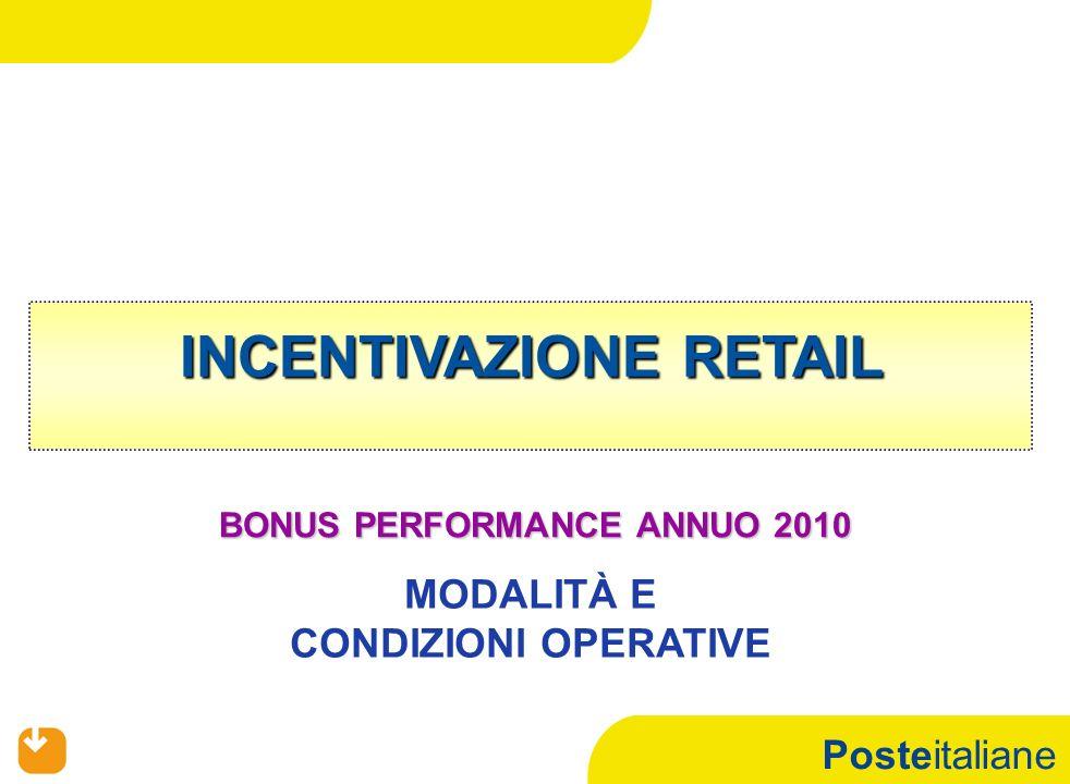 Posteitaliane INCENTIVAZIONE RETAIL BONUS PERFORMANCE ANNUO 2010 MODALITÀ E CONDIZIONI OPERATIVE