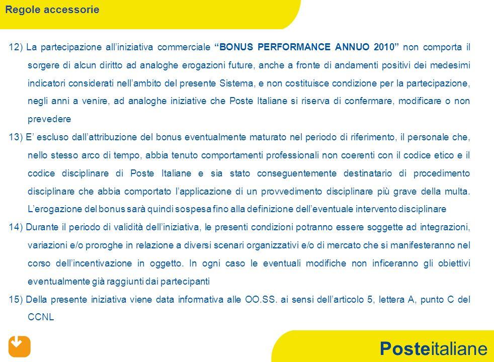 Posteitaliane Regole accessorie 12) La partecipazione alliniziativa commerciale BONUS PERFORMANCE ANNUO 2010 non comporta il sorgere di alcun diritto