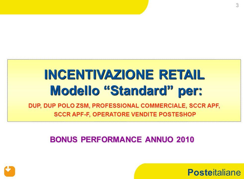Posteitaliane INCENTIVAZIONE RETAIL Modello Standard per: DUP, DUP POLO ZSM, PROFESSIONAL COMMERCIALE, SCCR APF, SCCR APF-F, OPERATORE VENDITE POSTESHOP SCCR APF-F, OPERATORE VENDITE POSTESHOP 3 BONUS PERFORMANCE ANNUO 2010