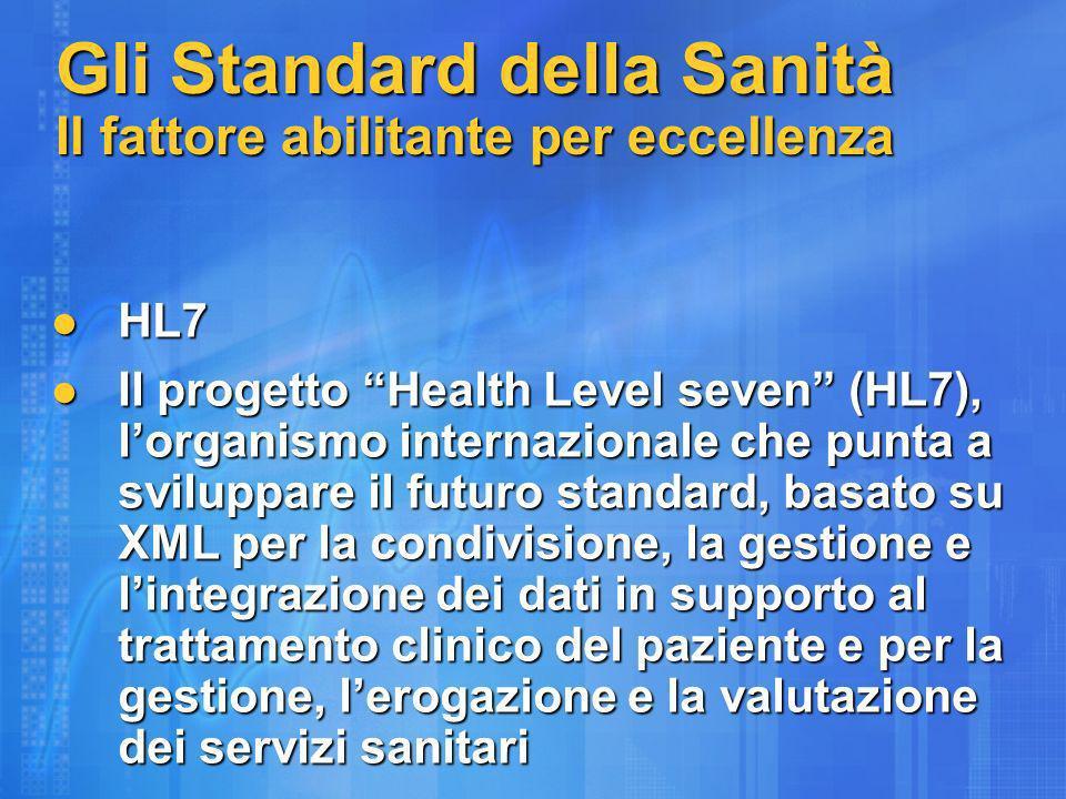 Gli Standard della Sanità Il fattore abilitante per eccellenza HL7 HL7 Il progetto Health Level seven (HL7), lorganismo internazionale che punta a sviluppare il futuro standard, basato su XML per la condivisione, la gestione e lintegrazione dei dati in supporto al trattamento clinico del paziente e per la gestione, lerogazione e la valutazione dei servizi sanitari Il progetto Health Level seven (HL7), lorganismo internazionale che punta a sviluppare il futuro standard, basato su XML per la condivisione, la gestione e lintegrazione dei dati in supporto al trattamento clinico del paziente e per la gestione, lerogazione e la valutazione dei servizi sanitari