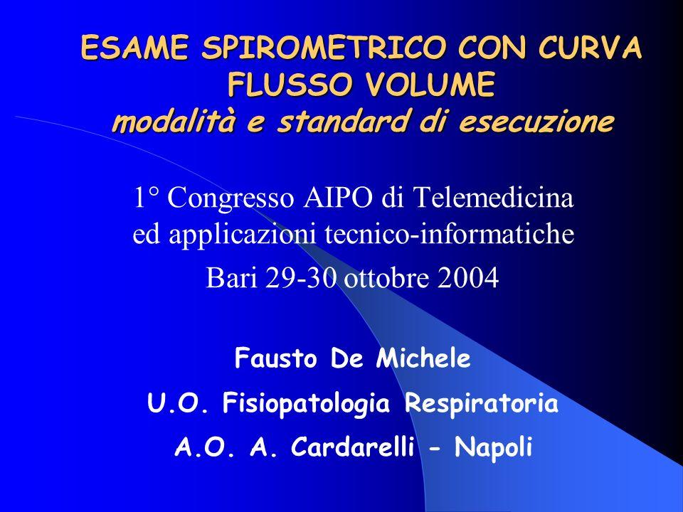 Problemi aperti nella standardizzazione della spirometria Norme riguardanti le apparecchiature Norme riguardanti le manovre di esecuzione dei tests Valori di riferimento e limiti di normalità Criteri di interpretazione