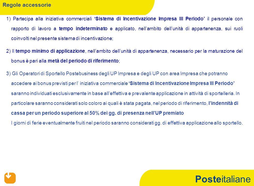 Posteitaliane 1) Partecipa alla iniziativa commerciali Sistema di Incentivazione Impresa III Periodo il personale con rapporto di lavoro a tempo indet