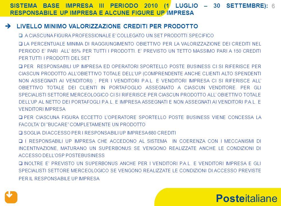 Posteitaliane SISTEMA BASE III PERIODO 2010 (LUGLIO - SETTEMBRE) REGOLE ACCESSORIE