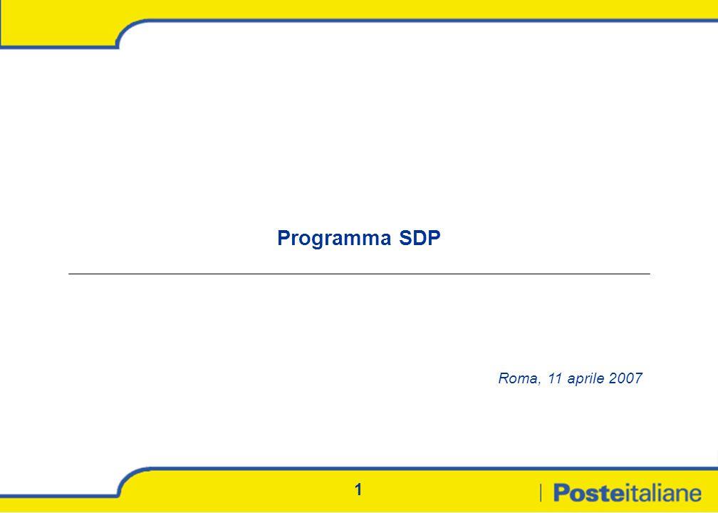 2 Il Programma SDP Il più grande progetto SOA multicanale in Europa Poste Italiane ha avviato la realizzazione del più grande programma di sportello SOA multicanale d Europa, la cui realizzazione richiederà un impegno sfidante per i prossimi 2 anni Il Programma SDP supporta la strategia di business di Poste Italiane al massimo livello: consentirà di offrire nuovi prodotti e servizi accelererà il time-to-market integrerà l offerta in ottica multicanale...