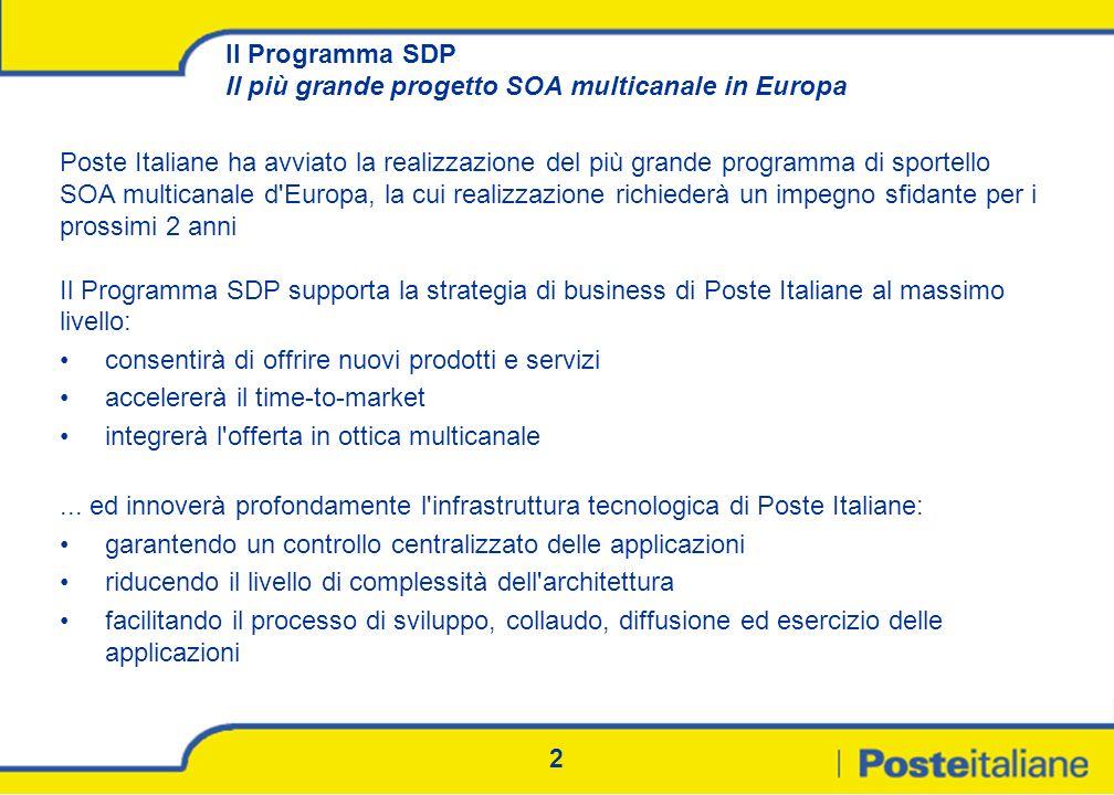 2 Il Programma SDP Il più grande progetto SOA multicanale in Europa Poste Italiane ha avviato la realizzazione del più grande programma di sportello S