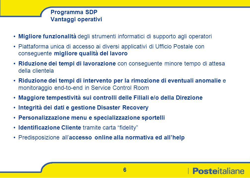 6 Programma SDP Vantaggi operativi Migliore funzionalità degli strumenti informatici di supporto agli operatori Piattaforma unica di accesso ai divers