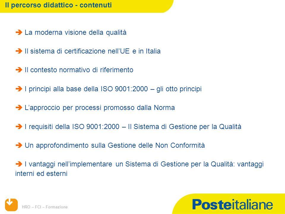 HRO – FCI – Formazione La moderna visione della qualità Il sistema di certificazione nellUE e in Italia Il contesto normativo di riferimento I princip
