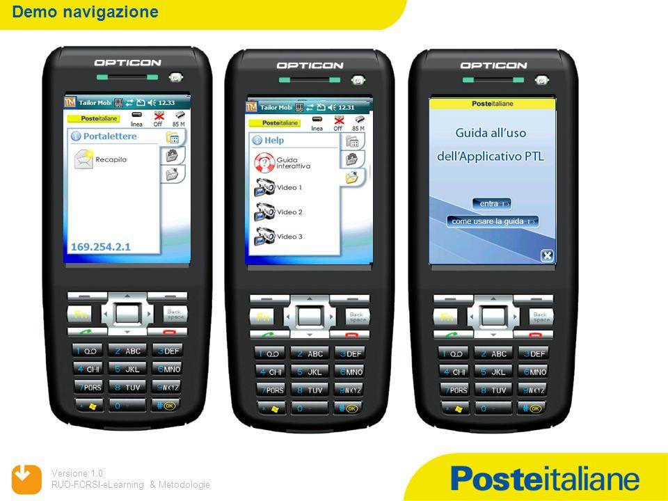 09/02/2014 Versione:1.0 RUO-FCRSI-eLearning & Metodologie Demo navigazione Il terminale portalettere: una strategia per il futuroIl terminale portalet